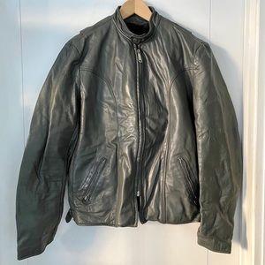 Men's 80s cafe racer grey leather jacket